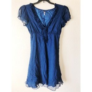Free people blue silk dress size 8